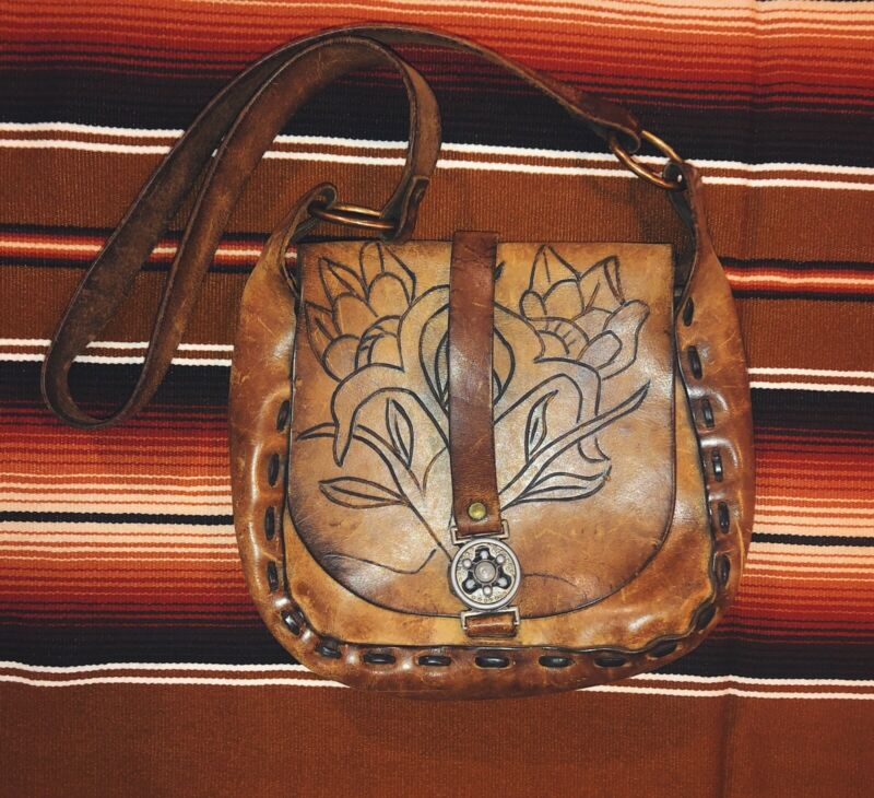 Vintage Brown Leather Tooled Purse