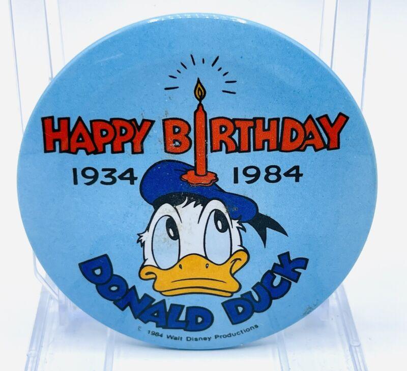 Donald Duck Pin ~ Happy Birthday ~ 50 years 1934-1984 ~ Walt Disney Productions