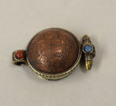 Amulet Pendant Nepal Copper Coin Buddhist Prayer Box