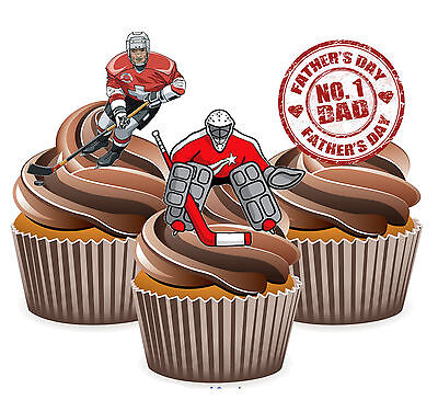 Fathers Day Gift 12 Ice Hockey Themed Cup Cake Toppers - Dad Daddy Husband  - Hockey Themed Gifts