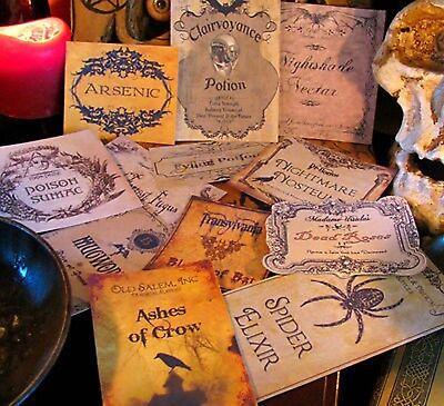 12 Halloween Potion Apothecary Labels Peel&Stick (set#4) Primitive Witch Decor