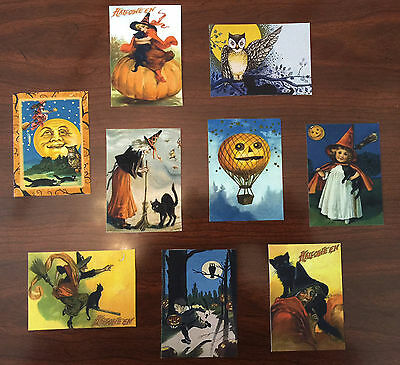 Halloween Art Cards Witch Black Cat Pumpkin Full Moon Owl Set of NINE ACEOs](Halloween Art Pumpkins)