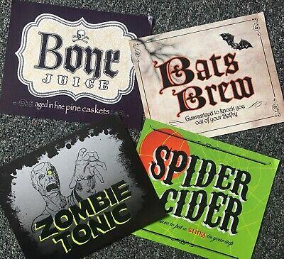 4 Halloween Bottle Labels Decoration Prop Punch 2ltr Bottles Blood Spider Cider - Blood Label Halloween