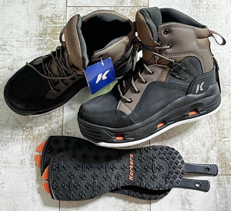 Korkers Buckskin Wading boots w/Felt and Kling-On Rubber Soles - Size 10