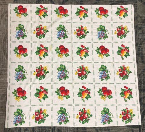 Vintage MCM Fruit Patterned Tablecloth