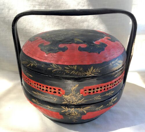 Vintage Chinese 2-Tier Handled Bakul Siah Wedding Basket - Bamboo & Lacquer