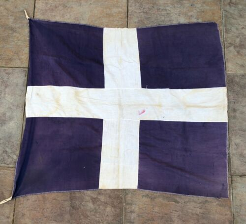 BEAUTIFUL VINTAGE GREECE GREEK FLAG (1950s-1960s) 87 cms height x 95 cms long