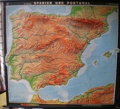 Schulwandkarte Wandkarte Schulkarte Alte Karte Spanien Portugal 1966 206x169cm
