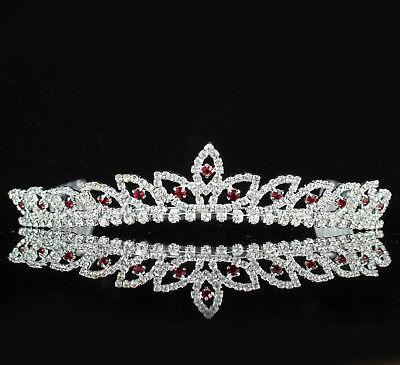 Bridal Red Austrian Rhinestone Tiara With Hair Comb Wedding Bridal H303R - Red Tiaras
