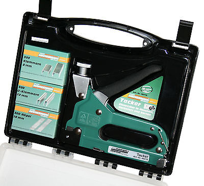 Tacker Starterpack mit Handtacker Klammern und Nägel, Komplett Set im Koffer