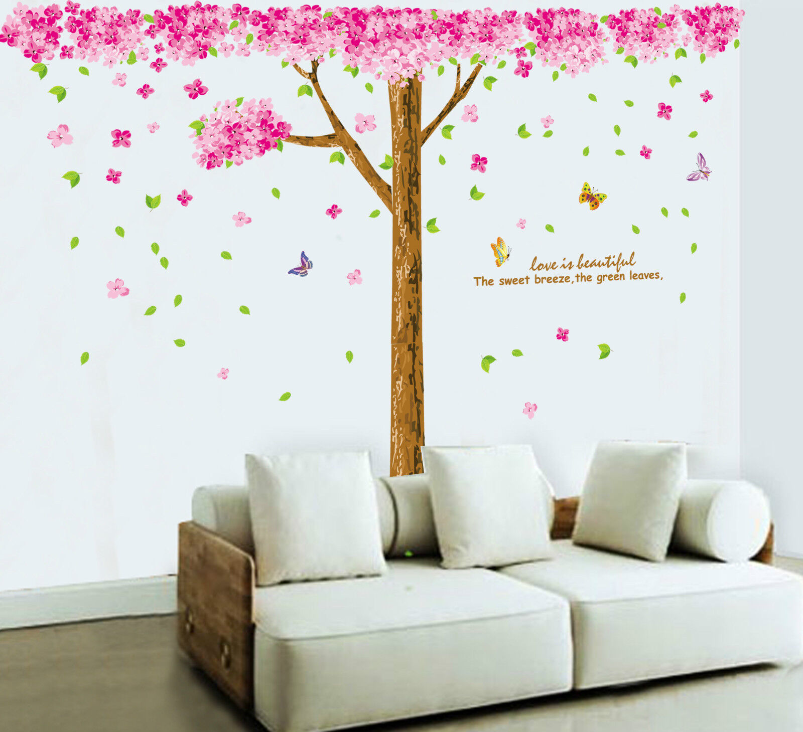 Large cherry blossom flowers tree removable wall art for Cherry blossom tree mural