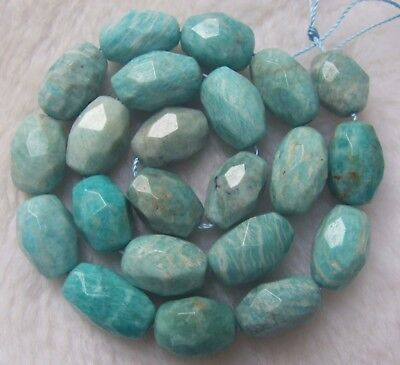 - About 12x16mm Natural Russian Amazonite Faceted Freeform Loose Beads 15.5