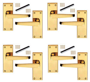 4 x Pairs of Solid Brass Victorian Door Handles Straight Lever Latch 100 x 38mm