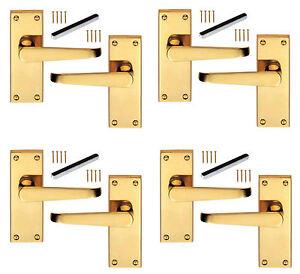 4 x Pairs of Solid Brass Victorian Door Handles Straight Lever Latch 100 x 38mm