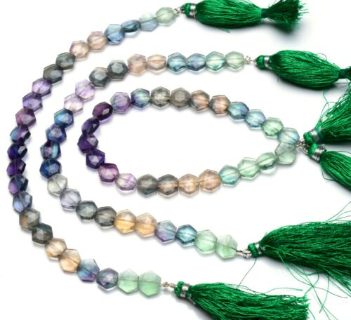 "Natural Gem Multi-color Fluorite 9MM Faceted Hexagon Shape Beads 8.5"" Strand"