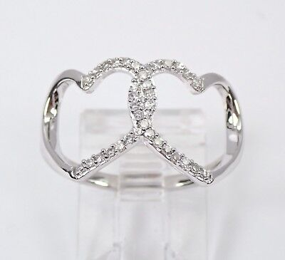 White Gold Diamond Heart Cluster Cocktail Ring Size 7 Best Friend Gift