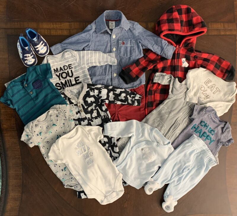 Lot Of Carter's 3 Month Baby Boy Clothes Shoes