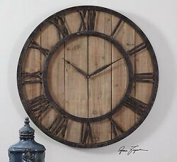 POWELL XXL 30 ROUND FARMHOUSE RESTORATION WOOD & METAL WALL CLOCK UTTERMOST