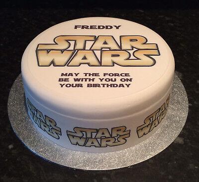 Star Wars Logo pre-cut Edible Icing Cake Topper or Ribbon