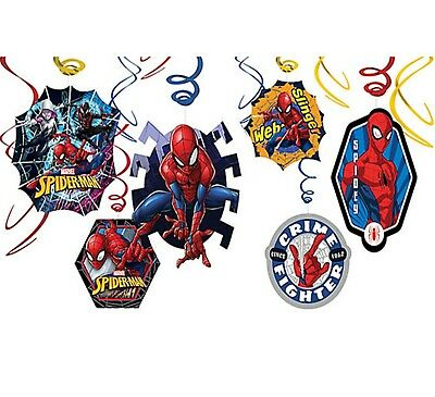Marvel SPIDER MAN Hanging Swirl Decoration Birthday Party Supplies SPIDERMAN ~12
