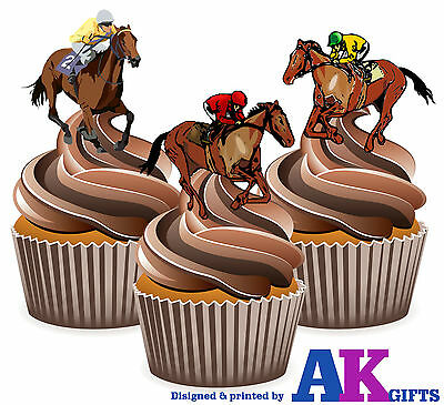 PRECUT Horse Racing Themed 12 Edible Cupcake Toppers Cake Decoration Birthday  - Horse Themed Cakes