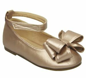 Baby Toddler Girls Ribbon Bow Round Toe Mary Jane Ankle Strap Ballet Shoes Flats