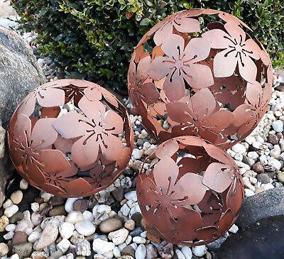 3er Set Dekokugeln Gartenkugeln Blume Metall 10+15+20cm Braun Rost-Optik Kugel
