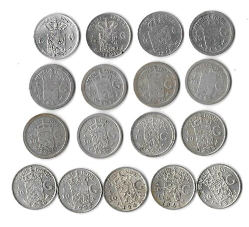 NETHERLANDS EAST INDIES Lot of 17 1/10 GULDEN 1857-1942 Silver. LL9.7