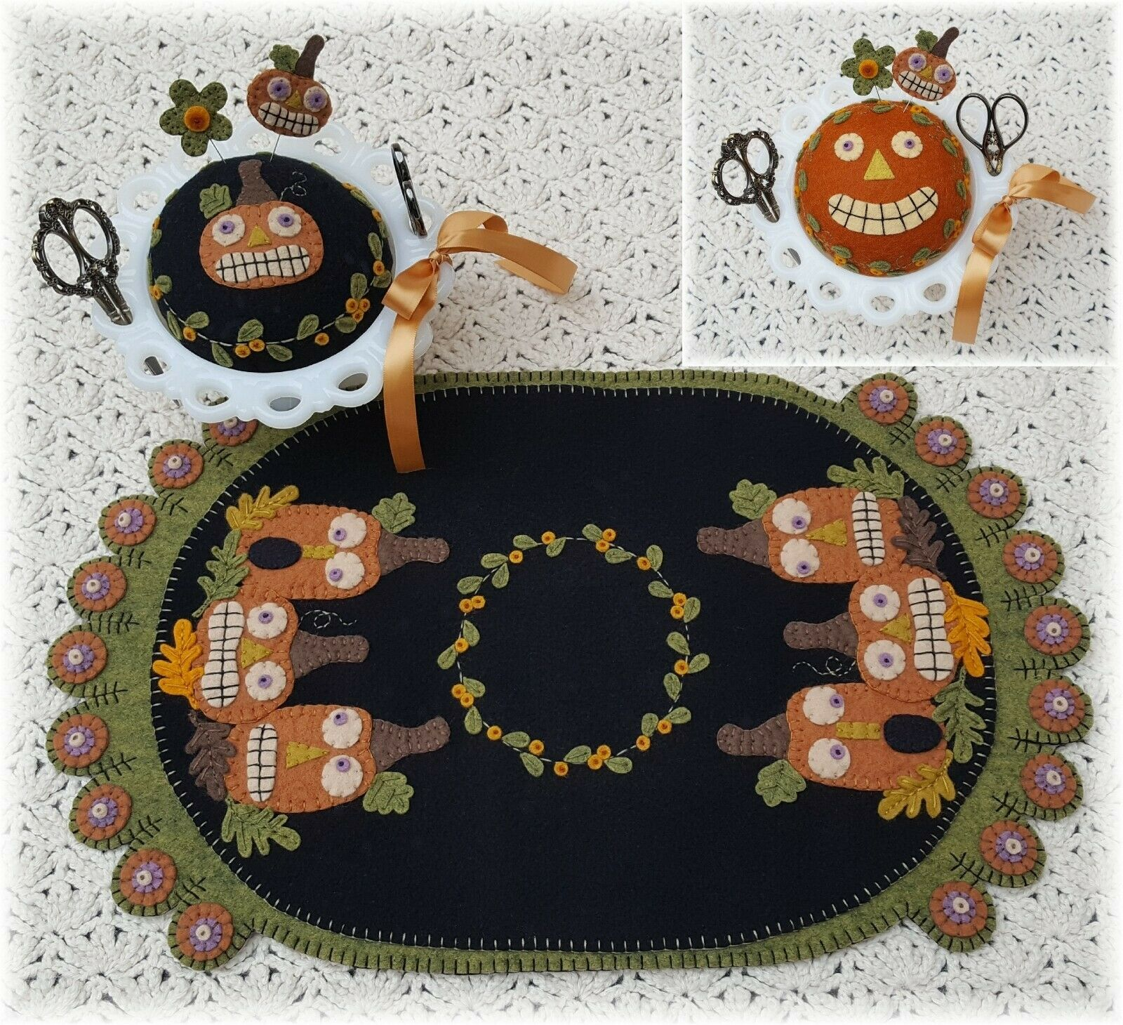 ~*Fright Night*~ Halloween Penny Rug Runner with Pincushion