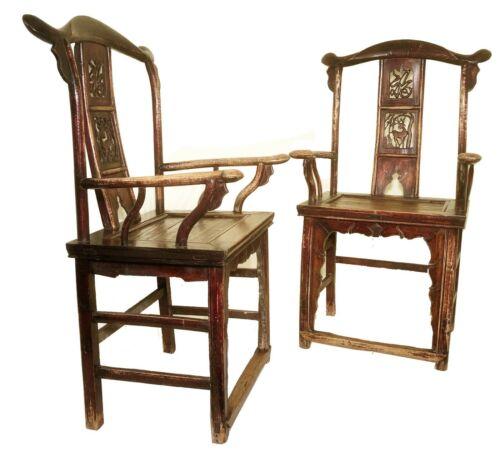 Antique Chinese High Back Arm Chairs (5875) (Pair), Circa 1800-1849