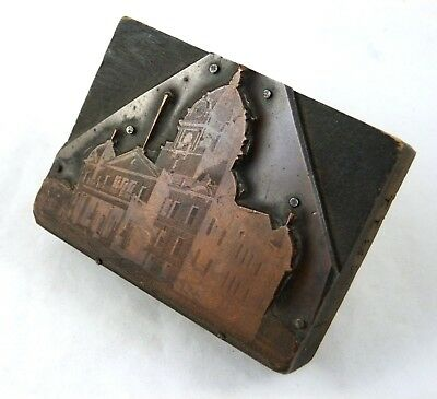 Antique Copper Letterpress Printing Block 19th Century Municipal Building 3