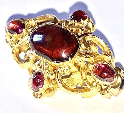 Georgian - Victorian Antique 14K Gold GARNET Brooch, 6.5 Grams!