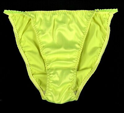 bae479f7f8e9 Satin String Bikini Panties · Bright Vibrant Neon Green / Yellow · L/7