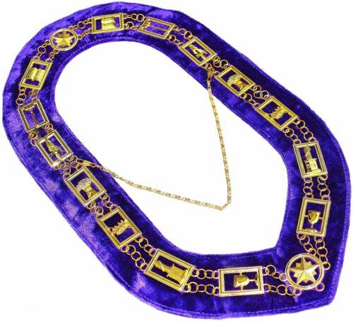Masonic Regalia OES Order of Star Chain Collar ROYAL PURPLE Backing DMR-900GP