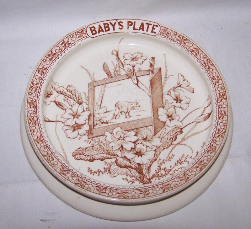 Antique LINNAEUS & K Co.1880 Brown Transferware Aesthetic Movement Baby
