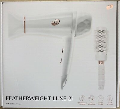 T3 Featherweight Luxe 2i Professional Hair Dryer White Gold Color with Brush