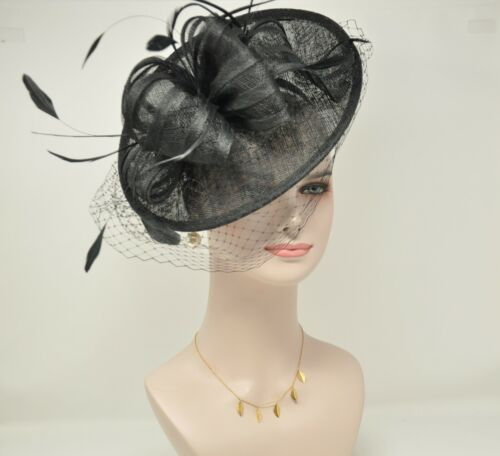 2020 Disc Fascinator Hat with Feathers and Netting Navy For derby Church