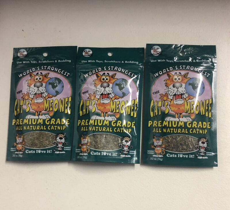 Cats Meowee Premium Grade Catnip All Natural Resealable Pouch 3 Pack  Total USA