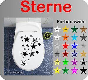Sterne WC Deckel Aufkleber Wandtattoo Toilettendeckel Sticker Bad Klo v. Farben
