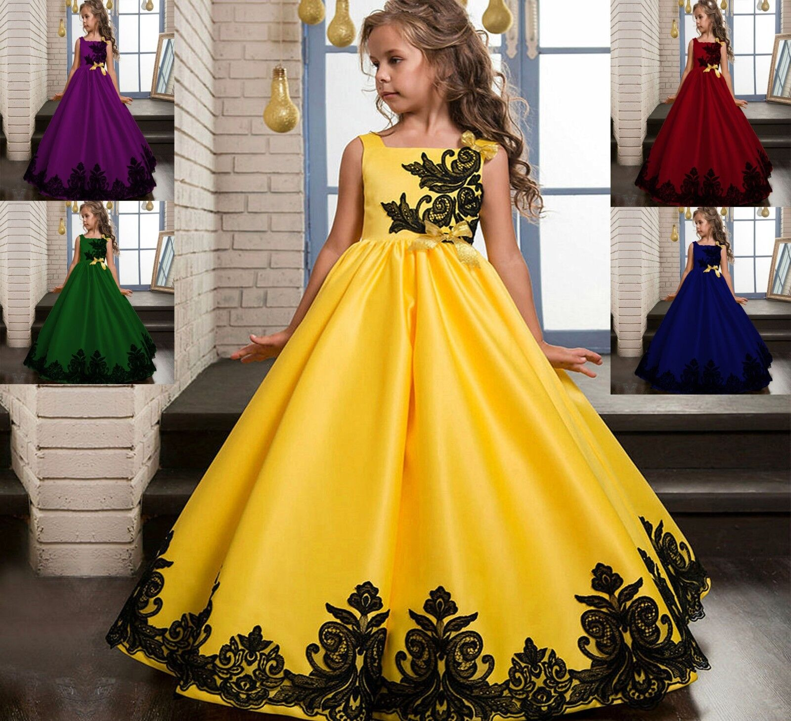 27d9a17376 Details about Flower Girl Dress Princess Party Wedding Bridesmaid Kid  Formal Gown Long Dresses