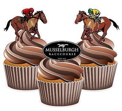 Horse Racing Musselburgh Racecourse 12 Edible Cup Cake Toppers Cake - Horse Racing Cake Decorations