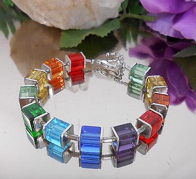 Design Armband Glas Würfel Regenbogen Bunt - Rot Blau Grün Orange Würfelarmband ()