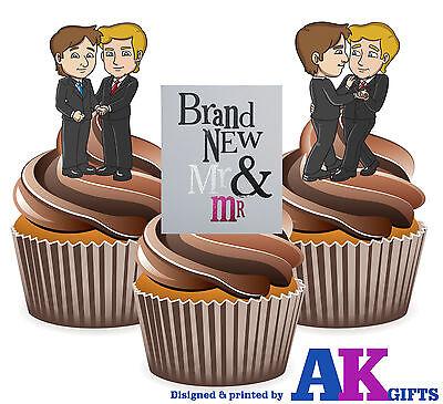 Boda Gay Mismo Sexo Nuevo Mr & Mr Mezcla 12 Comestible Vertical...