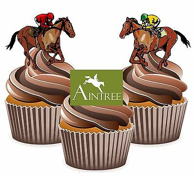 Horse Racing Aintree Racecourse - 12 Edible Cup Cake Toppers Cake - Horse Racing Cake Decorations