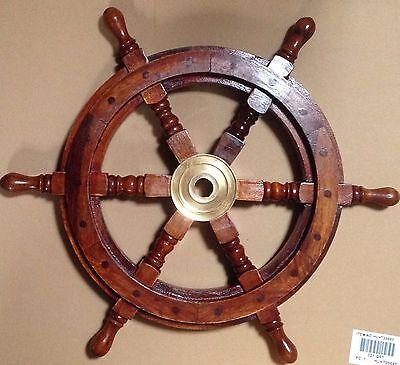 Deco Schiffssteuerrad Messing und Akazienholz Durchmesser 50cm Maritim Nautik