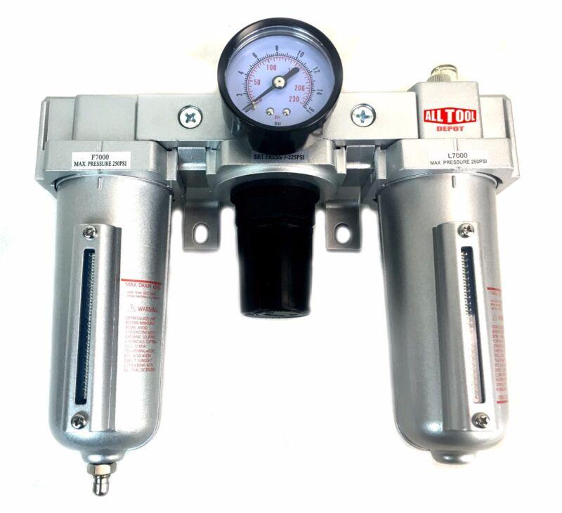 "1/2"" COMBO PARTICULATE FILTER REGULATOR LUBRICATOR COMPRESSED AIR Manual Drain"