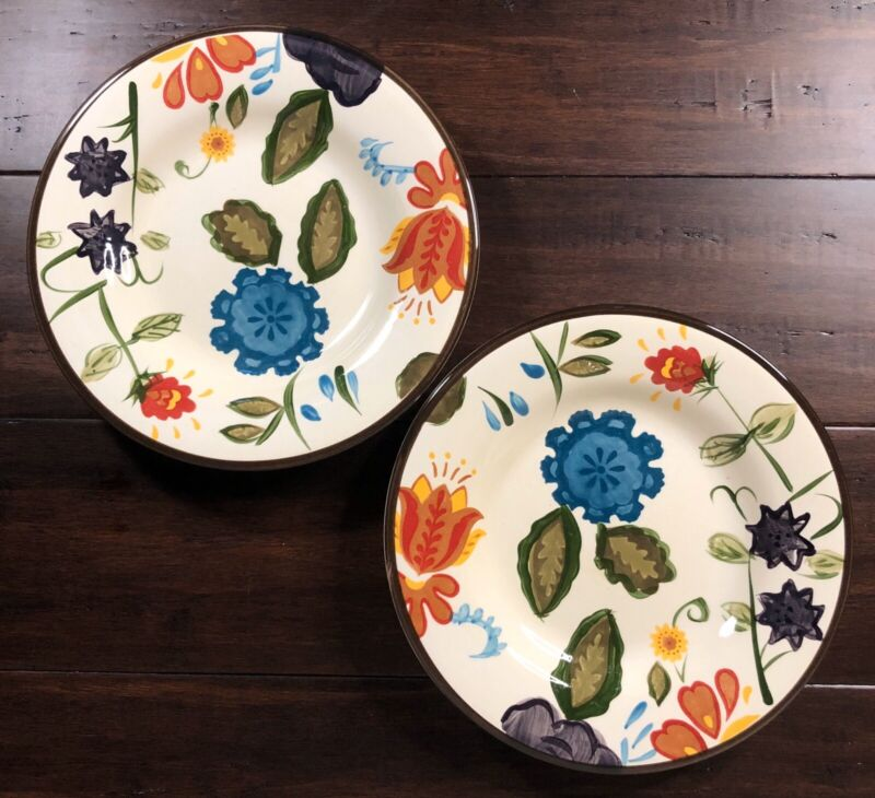 "Set of 2 HOME AMERICAN ""VINE FLORAL"" 9"" SALAD PLATES Stoneware - More Available"