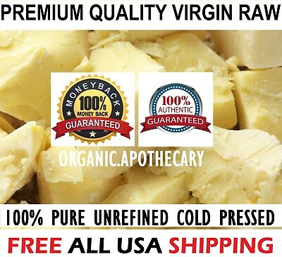 Raw COCOA BUTTER Organic Unrefined Natural 100% Pure Prime Pressed - Choose Size