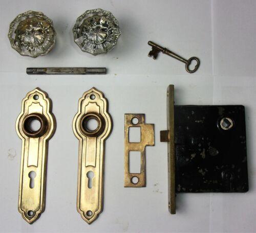 Antique Vintage Hardware Set Glass Door Knob Art Deco Backplate Mortise Lock Key