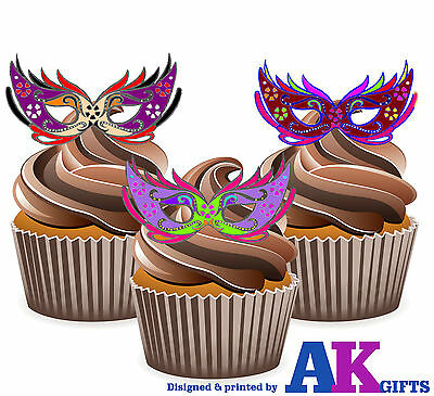 PRECUT Masquerade Ball Colourful Eye Mask 12 Edible Cupcake Toppers Decoration